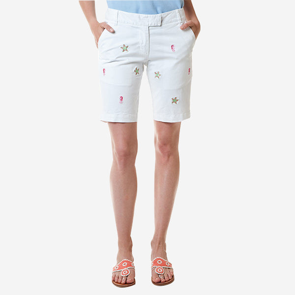 Castaway Bermuda Short - White With Starfish And Seahorse