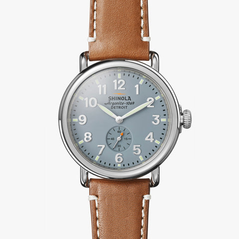 Shinola The Runwell 41mm Men's Grey Blue Watch Brown Leather Strap