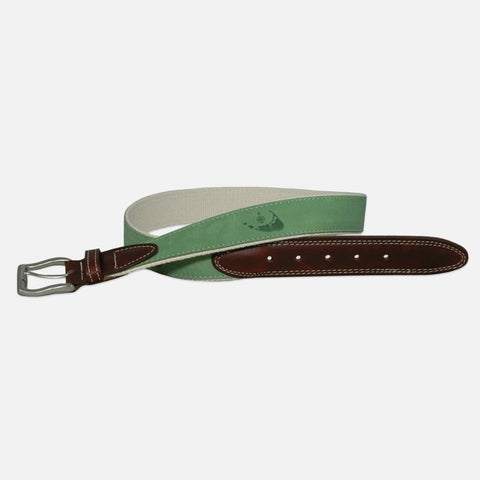 YRI Men's Embossed Nubuck Belt - Mint