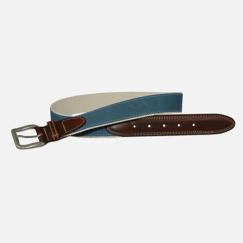 YRI Men's Embossed Nubuck Belt - Pale Blue