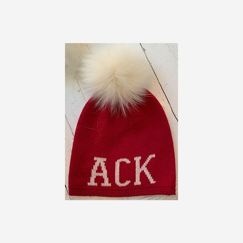 Alashan Cashmere ACK Fox Pom Pom Hat Velvet with Snow