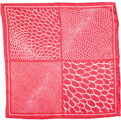 Seth B Minkin Vintage Red Scales Pocket Square