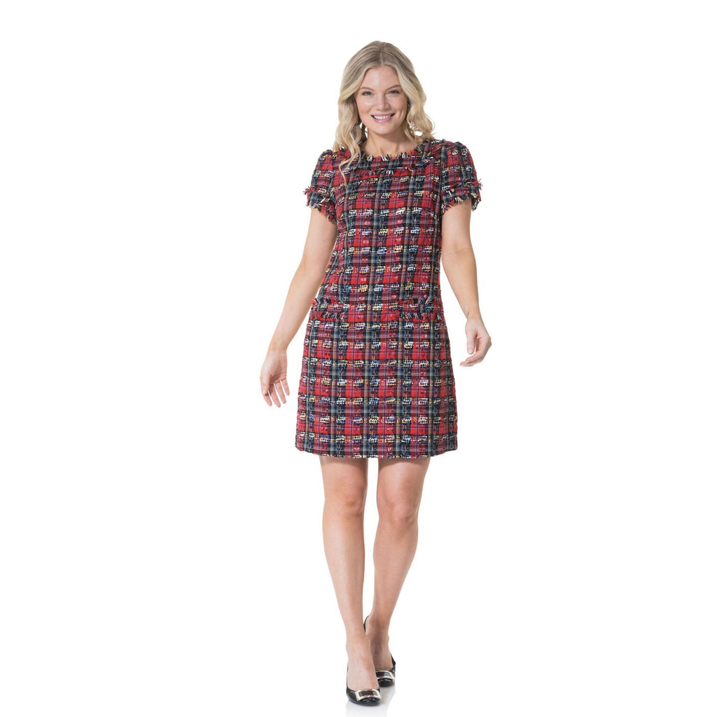 Sail to Sable Plaid Tweed Short Sleeve Shift Dress