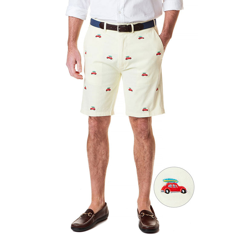 Castaway Cisco Short Stretch Twill Citrus with Bug & Surfboard