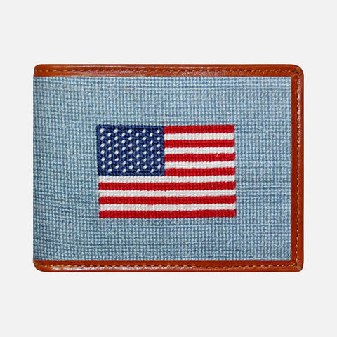 Smathers & Branson American Flag Needlepoint Bifold Wallet - Antique Blue