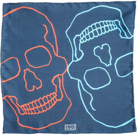 Seth B Minkin Red + Blue Skulls Pocket Square