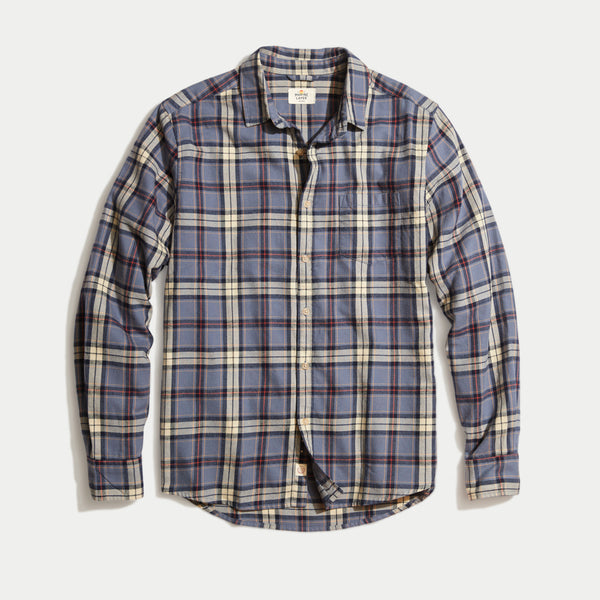 Marine Layer Organic Handsome Jack Faded Navy Plaid