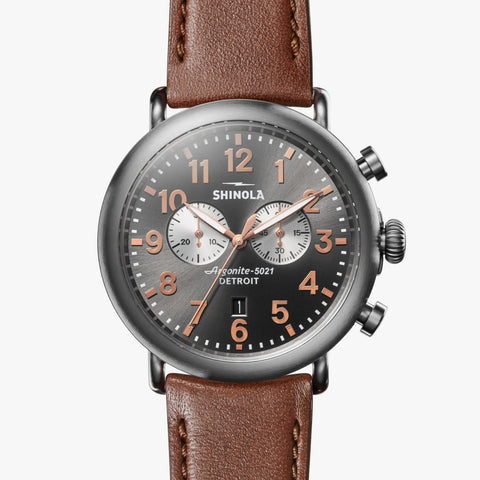 Shinola The Runwell Sub Second 47mm Sunday Watch Dark Cognac Leather Strap