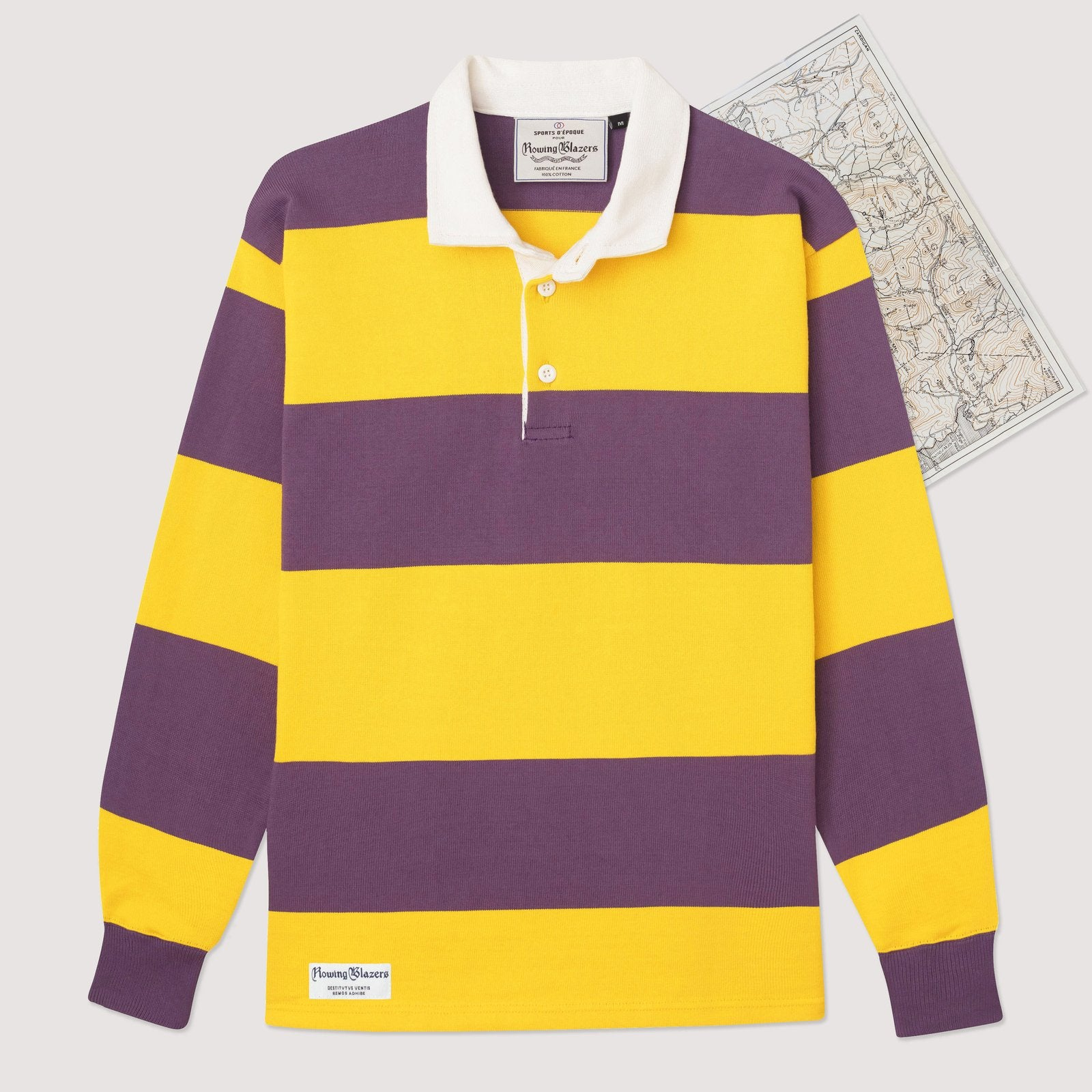 Rowing Blazers Horizontal Stripe Rugby Gold & Purple