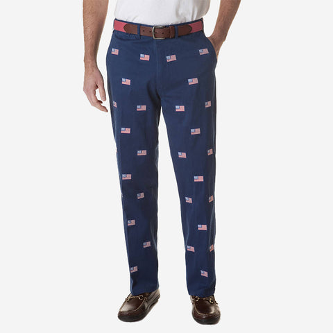 Castaway Harbor Pant - Atlantic with American Flag