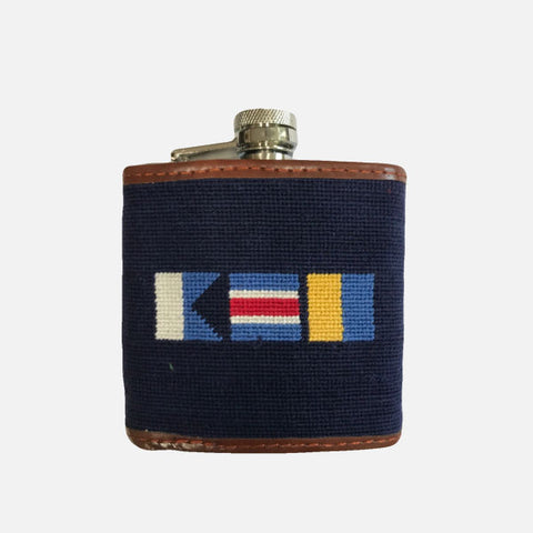 Smathers & Branson Nautical Flag ACK Needlepoint Flask