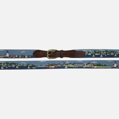 Smathers & Branson Nantucket Town-Brant Point Scene Needlepoint Belt