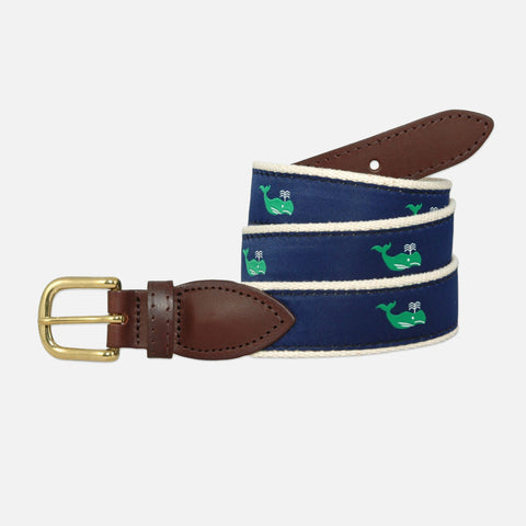 YRI Men's Ribbon Belt - Green Whales on Natural Webbing