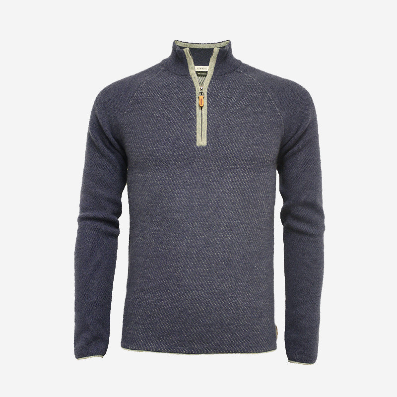 Hommard Zip Neck Diagonal Stitch Raglan - Blue/Silver
