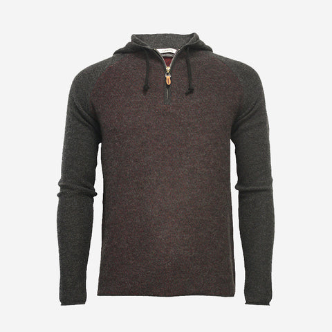 Hommard Zip Hooded Sweater 2 Tone Diagonal Stitch -Charcoal/Bordeaux