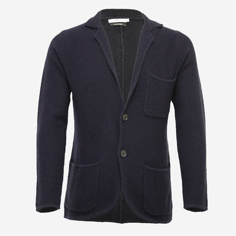 Hommard Jacket 2 Buttons Seed Stitch - Navy