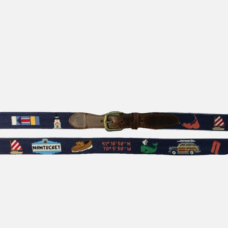 Smathers & Branson Nantucket Life Needlepoint Belt