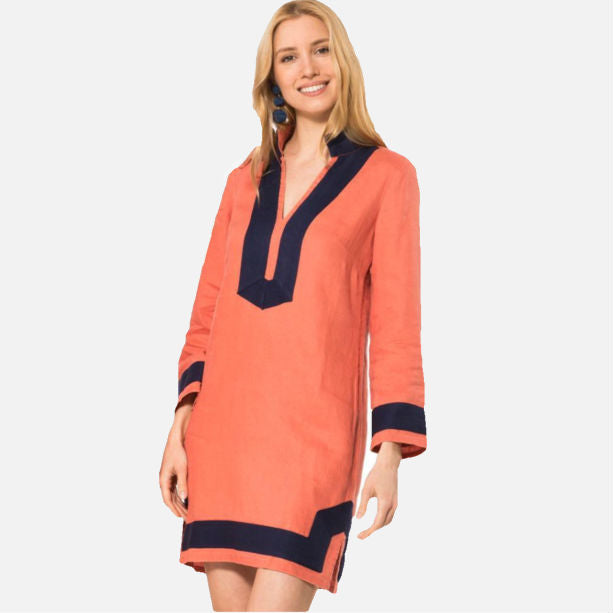 Sail To Sable The Classic Long Sleeve Tunic Dress - Nantucket Red