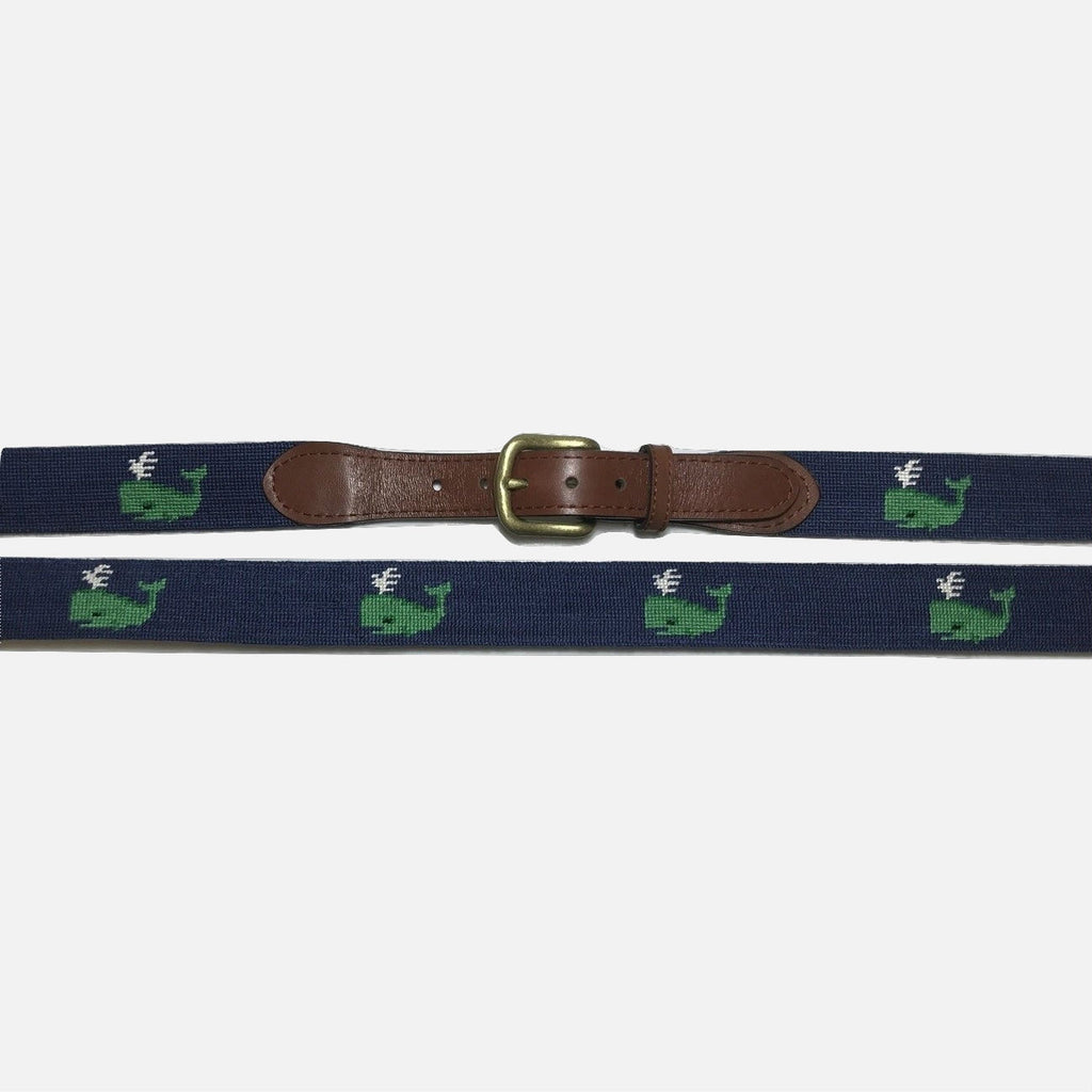 Smathers & Branson Green Whale Needlepoint Belt