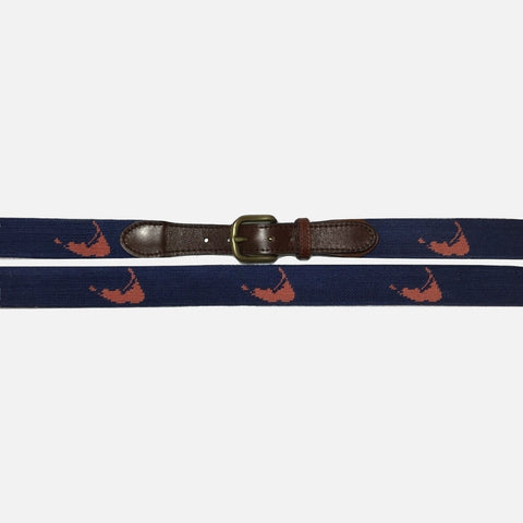 Smathers & Branson Nantucket Island Needlepoint Belt Navy