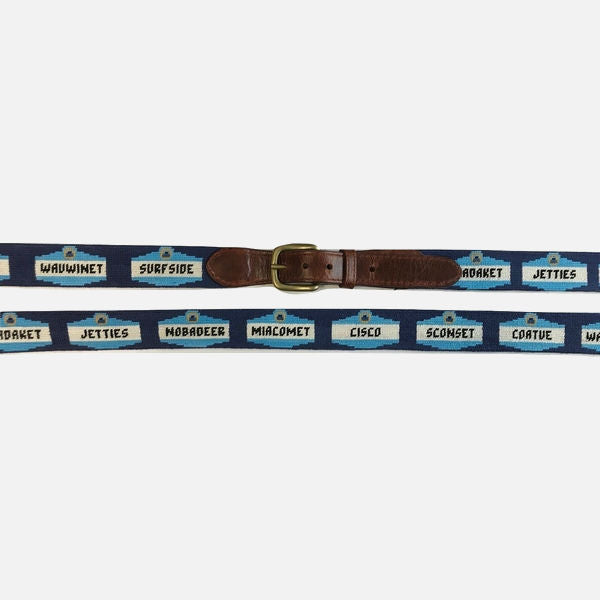 Smathers & Branson Nantucket Town Signs Needlepoint Belt