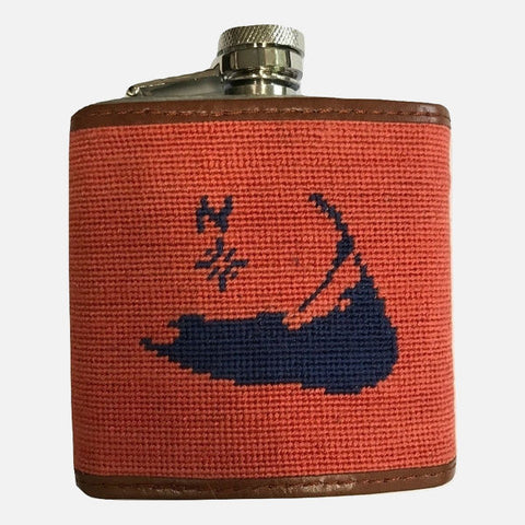 Smathers & Branson Nantucket Island Needlepoint Flask - Red