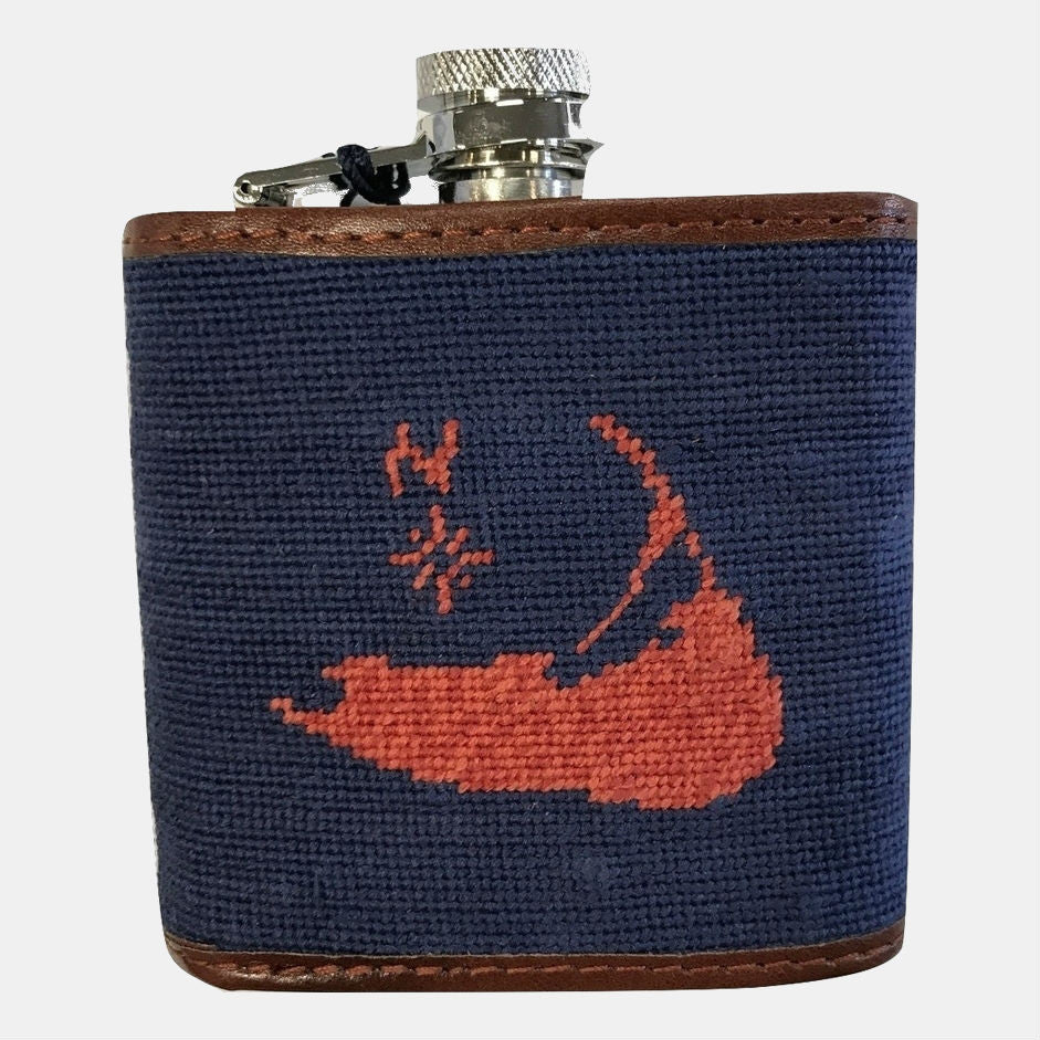Smathers & Branson Nantucket Island Needlepoint Flask - Navy