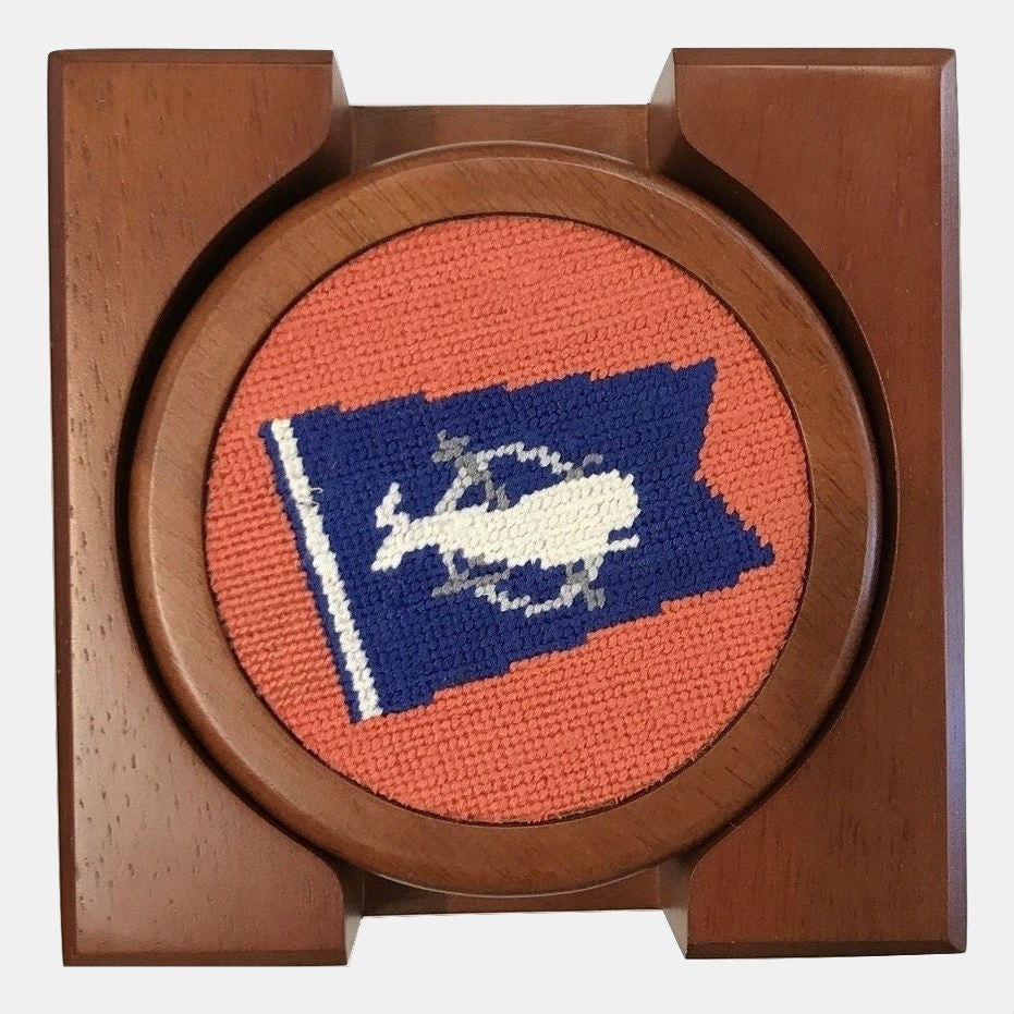 Smathers & Branson Nantucket Burgee Needlepoint Coaster Set