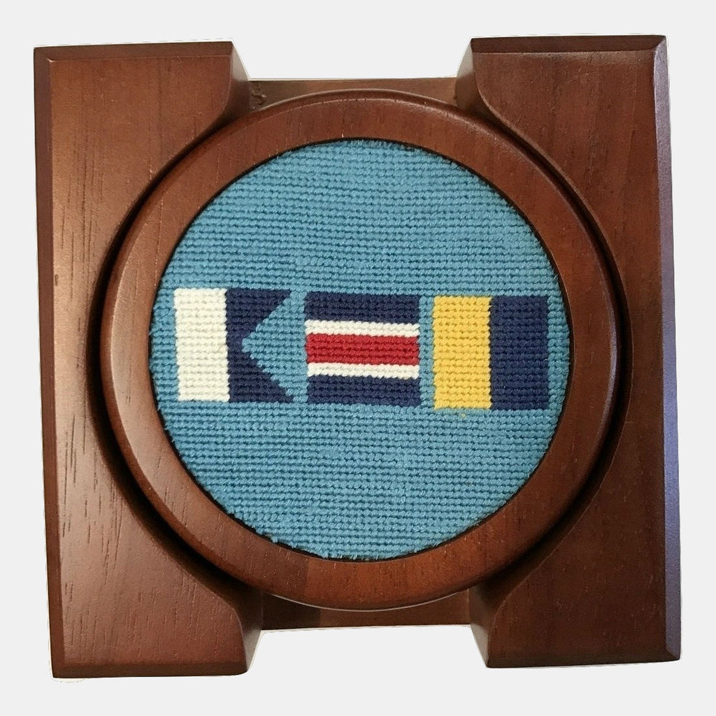 Smathers & Branson ACK Nautical Flags Needlepoint Coaster Set