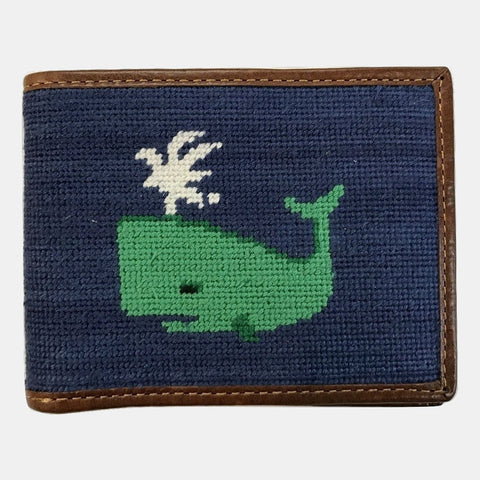 Smathers & Branson Whale Needlepoint Bifold Wallet - Navy