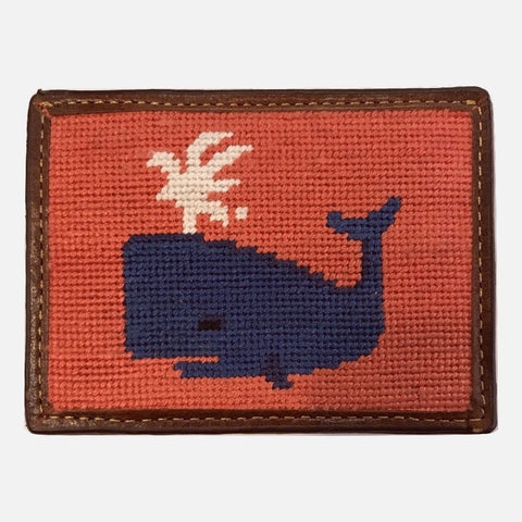 Smathers & Branson Whale Needlepoint Card Wallet - Red