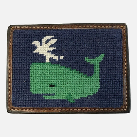 Smathers & Branson Whale Needlepoint Card Wallet - Navy