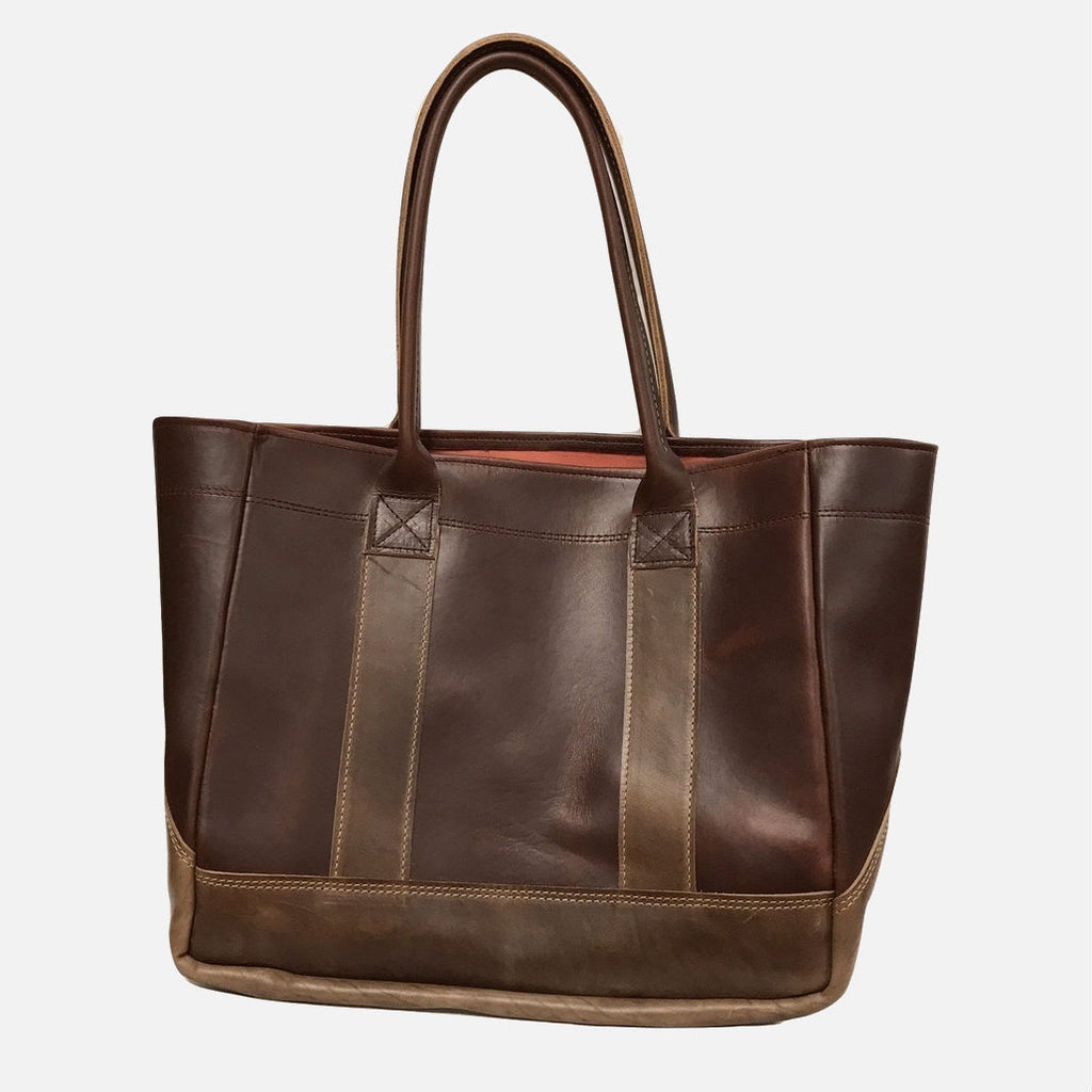 YRI Leather Tote - Brown With Nantucket Red Lining