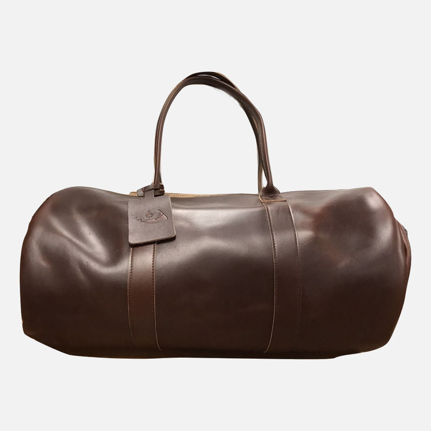 YRI Leather Duffle Bag - Brown With Nantucket Red Lining