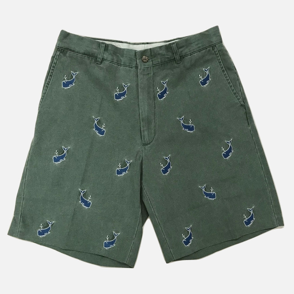 Nantucket Reds Collection™ Men's Embroidered Whale Bermuda Shorts - Green