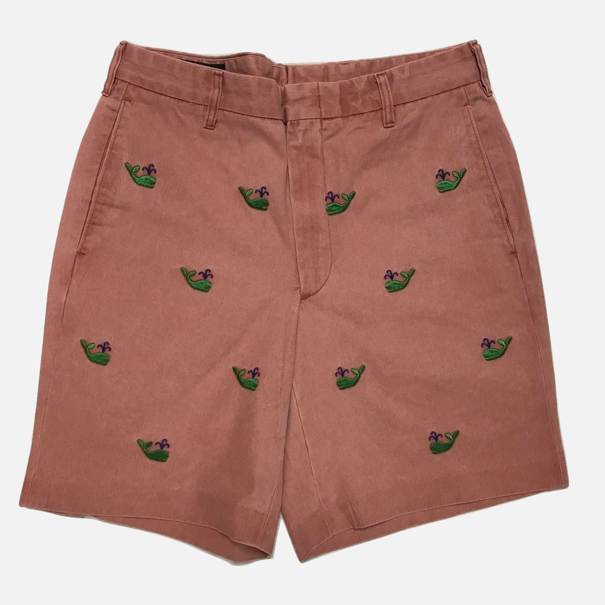 Nantucket Reds™ M Crest Collection Men's Straight Fit Embroidered Green Whale Shorts