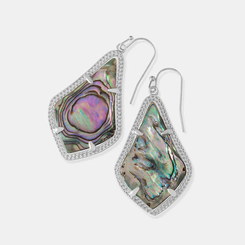Kendra Scott Alex Silver Drop Earrings In Abalone Shell