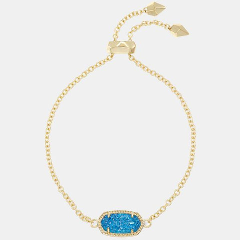 Kendra Scott Elaina Adjustable Chain Bracelet In Cobalt Drusy