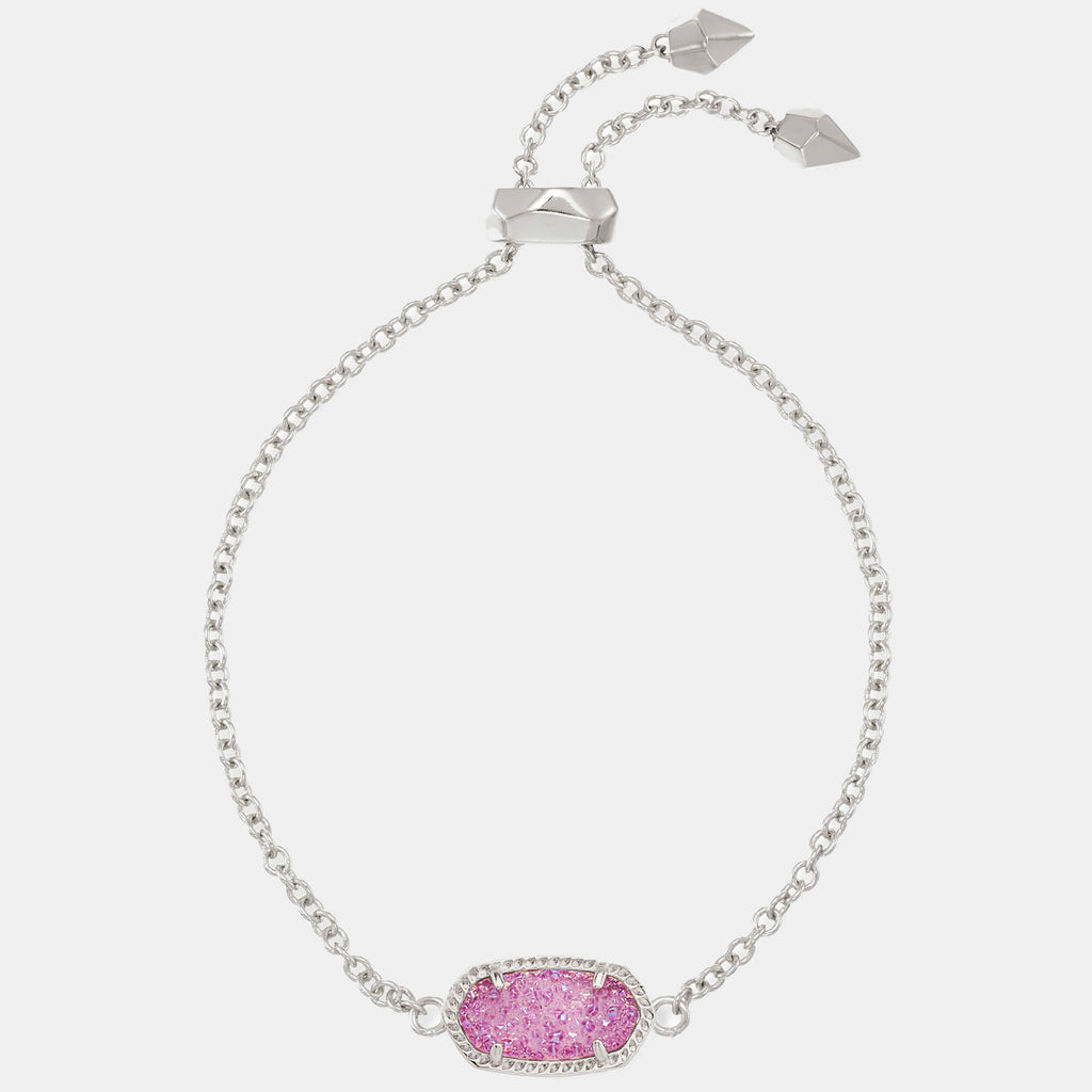 Kendra Scott Elaina Silver Adjustable Chain Bracelet In Violet Drusy