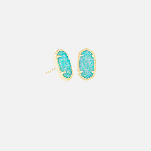 Kendra Scott Ellie Gold Stud Earrings In Teal Drusy