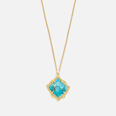 Kendra Scott Kacey Long Pendant Necklace In Bronze Veined Turquoise