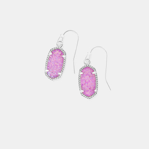 Kendra Scott Lee Silver Drop Earrings In Violet Drusy