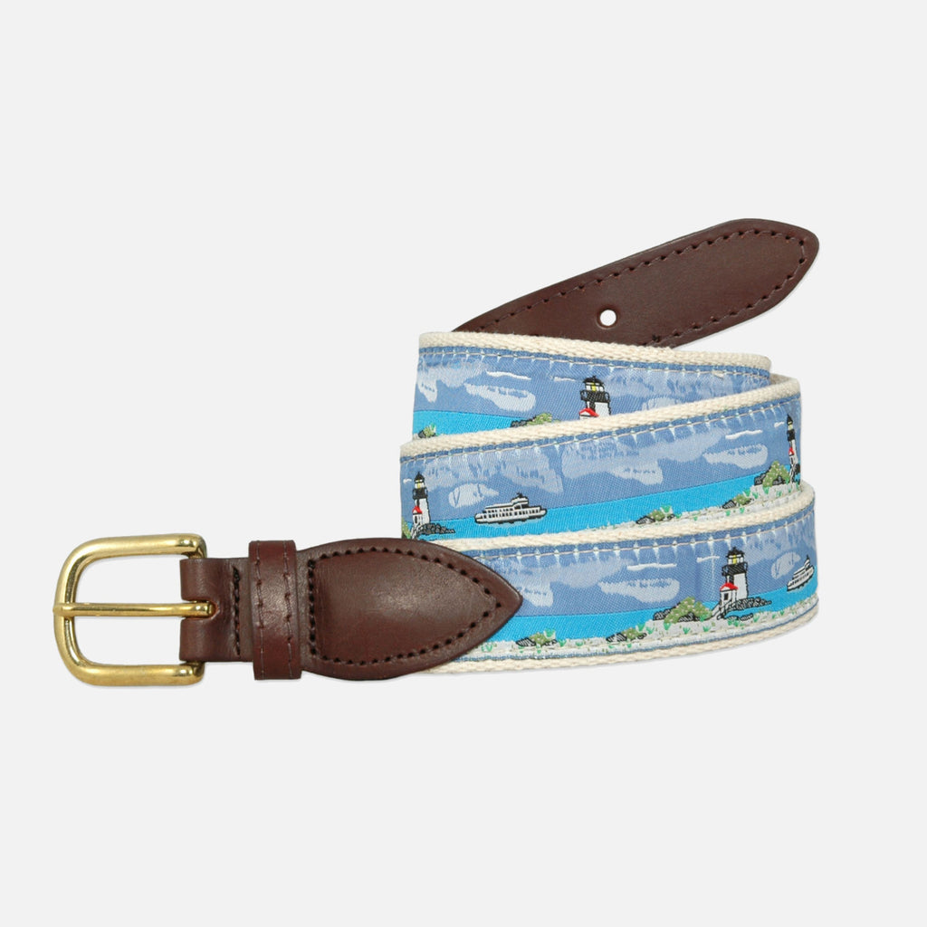 YRI Men's Ribbon Belt - Lighthouse Scene