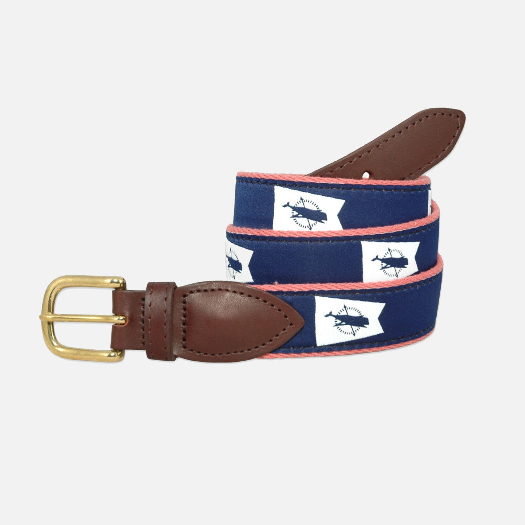 YRI Men's Ribbon Belt Nantucket Burgee - White on Red Webbing
