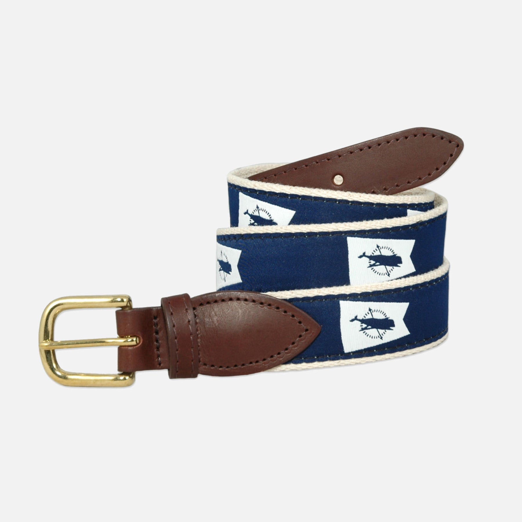 YRI Men's Ribbon Belt Nantucket Burgee - White on Natural Webbing