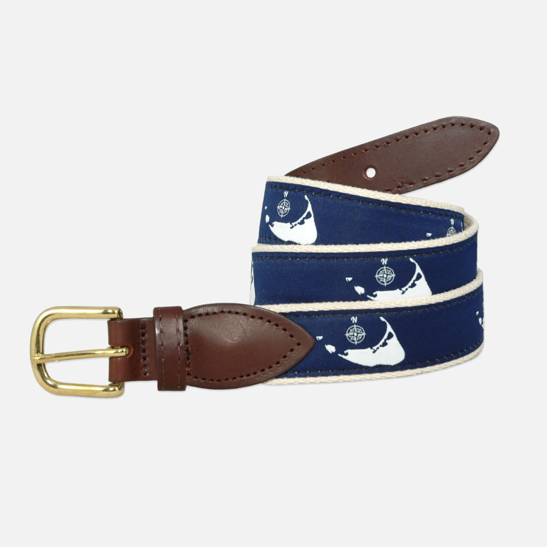 YRI Men's Ribbon Belt Nantucket Compass - White on Natural Webbing
