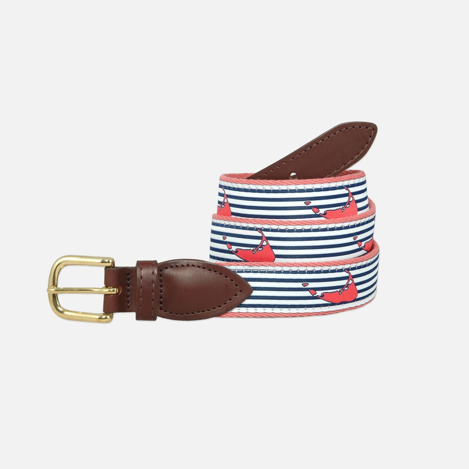 YRI Men's Ribbon Belt Nantucket Island - Seersucker