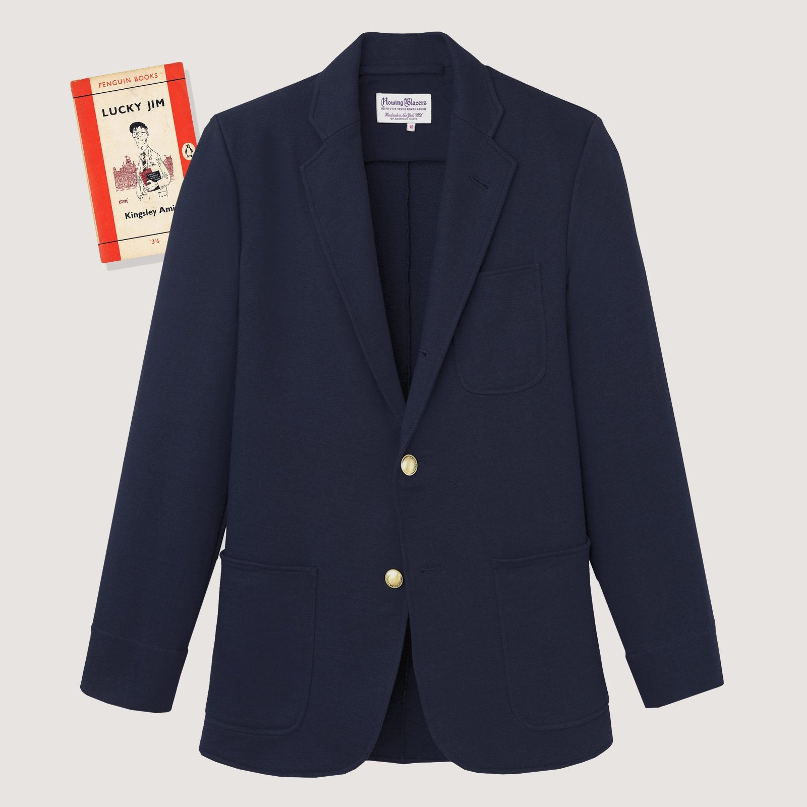 Rowing Blazers Navy Cotton Blazer With 'Swelled Seam' Topstich