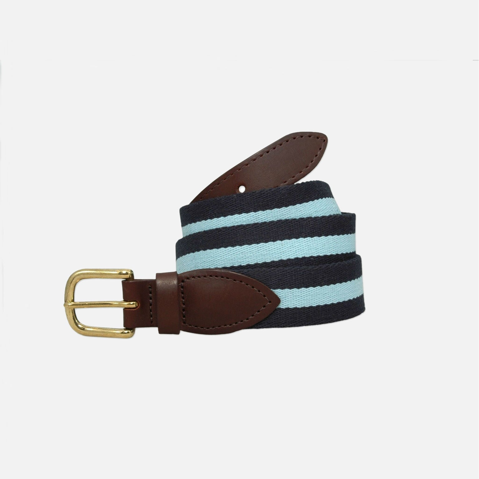 YRI Men's Belt - Navy With Light Blue Surcingle Stripe
