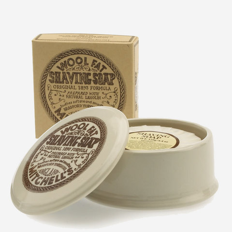 Mitchell's Ceramic Shaving Soap Dish with Wool Fat Soap